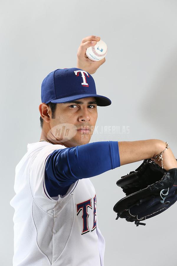 Feb. 20, 2013; Surprise, AZ, USA: Texas Rangers pitcher Martin Perez poses for a portrait during photo day at Surprise Stadium. Mandatory Credit: Mark J. Rebilas-
