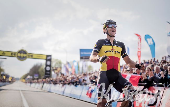 101th Ronde Van Vlaanderen 2017 (1.UWT) race winner Philippe Gilbert (BEL/Quick Step floors) crossing the finish line in Oudenaarde<br /> <br /> 1day race: Antwerp &rsaquo; Oudenaarde - BEL (260km)