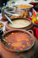 Various local dished prepared for judges of annual cooking competition, Lima, Peru, South America