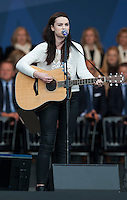 25.09.2014. Gleneagles, Auchterarder, Perthshire, Scotland.  The Ryder Cup.  Amy Macdonald  performs on stage at the opening ceremony.