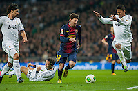 Carvalho Khedira Messi and Varane try to block the skills of Messi