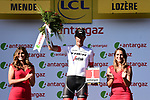 Jasper Stuyven (BEL) Trek-Segafredo wins the days combativity award at the end of Stage 14 of the 2018 Tour de France running 188km from Saint-Paul-Trois-Chateaux to Mende, France. 21st July 2018. <br /> Picture: ASO/Pauline Ballet | Cyclefile<br /> All photos usage must carry mandatory copyright credit (&copy; Cyclefile | ASO/Pauline Ballet)