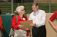 26 April 2008: Jane Klein and athletic director Bob Bowlsby during the Bud Klein Field dedication ceremony before Stanford's 26-5 win against the USC Trojans at Sunken Diamond in Stanford, CA.