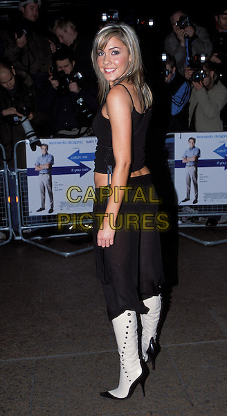 SARAH WHATMORE.Catch Me if You Can Film premiere & afterparty at Mezzo.www.capitalpictures.com.sales@capitalpictures.com.©Capital Pictures.cropped trousers tucked in boots, two toned boots, .white boots