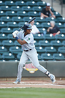 Oscar Gonzalez (39) of the Lynchburg Hillcats at bat against the Winston-Salem Dash at BB&T Ballpark on May 9, 2019 in Winston-Salem, North Carolina. The Dash defeated the Hillcats 4-1. (Brian Westerholt/Four Seam Images)