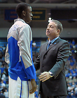 February 7, 2015 - Colorado Springs, Colorado, U.S. -  Air Force head coach, Dave Pilipovich, talks with Falcon, Justin Hammonds, prior to an NCAA basketball game between the University of Wyoming Cowboys and the Air Force Academy Falcons at Clune Arena, U.S. Air Force Academy, Colorado Springs, Colorado.  Air Force soars to a 73-50 win over Wyoming.