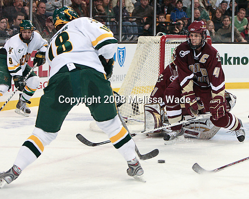 Wahsontiio Stacey (Vermont - 9), Viktor Stålberg (Vermont - 18), Mike Brennan (BC - 4) (Muse) - The Boston College Eagles defeated the University of Vermont Catamounts 4-0 in the Hockey East championship game on Saturday, March 22, 2008, at TD BankNorth Garden in Boston, Massachusetts.