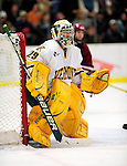 18 October 2009: University of Vermont Catamount goaltender Rob Madore, a Sophomore from Venetia, PA, in action against the Boston College Eagles at Gutterson Fieldhouse in Burlington, Vermont. Madore stopped 22 shots as the Catamounts defeated the Eagles 4-1 to open Vermont's America East hockey season. Mandatory Credit: Ed Wolfstein Photo