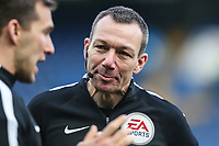 Referee Mr Kevin Friend warms u ahead of the Premier League match between Chelsea and Newcastle United at Stamford Bridge, London, England on 2 December 2017. Photo by David Horn.