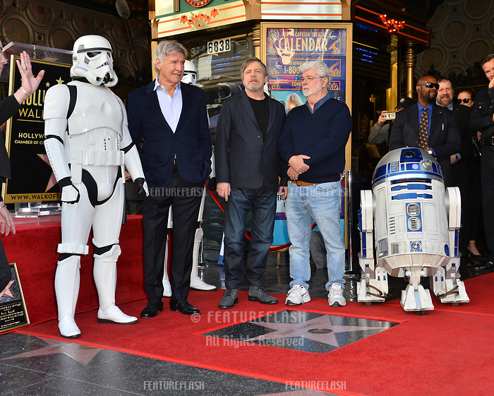 Harrison Ford, Mark Hamill &amp; George Lucas at the Hollywood Walk of Fame Star Ceremony honoring actor Mark Hamill, Los Angeles, USA 08 March 2018<br /> Picture: Paul Smith/Featureflash/SilverHub 0208 004 5359 sales@silverhubmedia.com