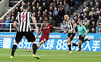 Liverpool's Philippe Coutinho scores the opening goal <br /> <br /> Photographer Rich Linley/CameraSport<br /> <br /> The Premier League -  Newcastle United v Liverpool - Sunday 1st October 2017 - St James' Park - Newcastle<br /> <br /> World Copyright &copy; 2017 CameraSport. All rights reserved. 43 Linden Ave. Countesthorpe. Leicester. England. LE8 5PG - Tel: +44 (0) 116 277 4147 - admin@camerasport.com - www.camerasport.com