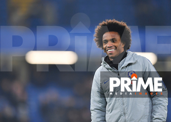 Willian of Chelsea warms up during the Carabao Cup Semi-Final 2nd leg match between Chelsea and Tottenham Hotspur at Stamford Bridge, London, England on 24 January 2019. Photo by Vince  Mignott / PRiME Media Images.