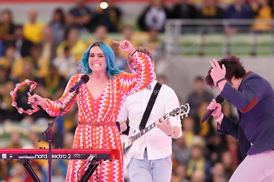 The band Sheppherd performs in the opening ceremony at the 2015 AFC Asian Cup match between Australia and Kuwait at the Melbourne Rectangular Stadium on 9 January 2015