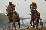 ARCADIA, CA  MARCH 10:  #8 Kanthaka, ridden by Flavien Prat, and #7 Peace, ridden by Drayden Van Dyke, in the stretch of the San Felipe Stakes (Grade ll) on March 10, 2018, at Santa Anita Park in Arcadia, CA..(Photo by Casey Phillips/ Eclipse Sportswire/ Getty Images)