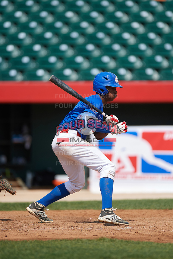 Adael Amador (6) during the Dominican Prospect League Elite Underclass International Series, powered by Baseball Factory, on August 1, 2017 at Silver Cross Field in Joliet, Illinois.  (Mike Janes/Four Seam Images)