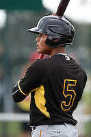 Pittsburgh Pirates Reggie Cerda (5) during minor league spring training on March 23, 2015 at Pirate City in Bradenton, Florida.  (Mike Janes/Four Seam Images)
