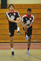 D.C. United defender Dejan Jakovic and Ethan White during the pre-season fitness training session at George Manson University before departing for Bradenton Florida to get ready for the 2013 season, Friday January 18, 2013.