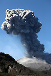 Ash cloud from powerful explosive eruption of Sakurajima Volcano, Kagoshima, Japan.