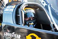 Feb 7, 2020; Pomona, CA, USA; NHRA top fuel driver Austin Prock during qualifying for the Winternationals at Auto Club Raceway at Pomona. Mandatory Credit: Mark J. Rebilas-USA TODAY Sports