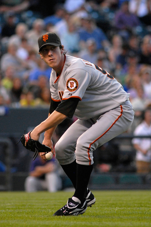 San Francisco Giants pitcher Tim Lincecum fields a ball in the infield against the Colorado Rockies. The Giants defeated the Rockies 6-5 at Coors Field in Denver, Colorado on May 20, 2008.