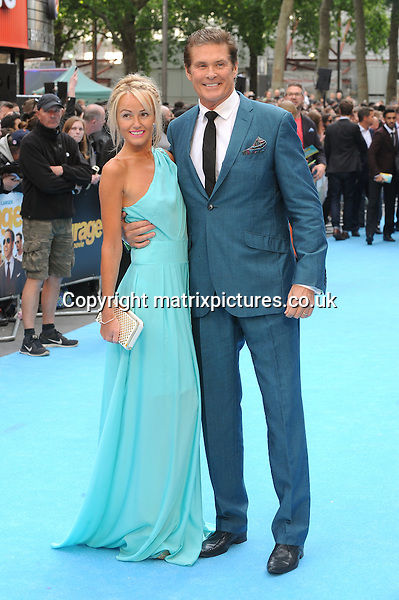 NON EXCLUSIVE PICTURE: PAUL TREADWAY / MATRIXPICTURES.CO.UK<br /> PLEASE CREDIT ALL USES<br /> <br /> WORLD RIGHTS<br /> <br /> American actor David Hasselhoff and his girlfriend, Hayley Roberts attending the European Premiere of Entourage at Vue West End, in London.<br /> <br /> JUNE 9th 2015<br /> <br /> REF: PTY 151850