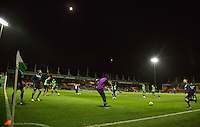 Wycombe Players warm up during the Sky Bet League 2 match between Yeovil Town and Wycombe Wanderers at Huish Park, Yeovil, England on 24 November 2015. Photo by Andy Rowland.