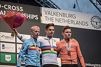 Men Elite Podium with:<br /> <br /> 1st place and renewing his World title, Wout Van Aert (BEL/Crelan Charles)<br /> 2nd place: Michael Vanthourenhout (BEL/Marlux Bingoal)<br /> 3th place: Mathieu Van Der Poel (NED/Corendon Circus)<br /> <br /> Men Elite Race<br /> UCI CX Worlds 2018<br /> Valkenburg - The Netherlands