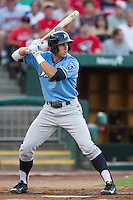 Lane Adams (8) of the Northwest Arkansas Naturals stands at bat during a game against the Springfield Cardinals at Hammons Field on August 23, 2013 in Springfield, Missouri. (David Welker/Four Seam Images)