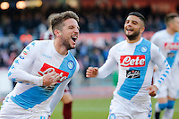 Dries Mertens celebrates with Lorenzo Insigne after scoring during the  italian serie a soccer match,between SSC Napoli and Torino       at  the San  Paolo   stadium in Naples  Italy , December 18, 2016