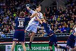 Niclas PIECZKOWSKI (#14 SC DHfK Leipzig) \Vetle RONNINGEN (#19 SG Bietigheim) \Nikola VLAHOVIC (#3 SG Bietigheim) \ beim Spiel in der Handball Bundesliga, SG BBM Bietigheim - SC DHfK Leipzig.<br /> <br /> Foto &copy; PIX-Sportfotos *** Foto ist honorarpflichtig! *** Auf Anfrage in hoeherer Qualitaet/Aufloesung. Belegexemplar erbeten. Veroeffentlichung ausschliesslich fuer journalistisch-publizistische Zwecke. For editorial use only.
