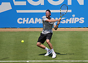 June 19th 2017, Queens Club, West Kensington, London; Aegon Tennis Championships, Day 1; Adrian Mannarino of France plays a backhand return during his game against Jo-Wilfried Tsonga of France