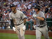 New York Yankees center fielder Aaron Hicks (31), left, and  starting pitcher Sonny Gray (55), right, celebrate Hicks' fifth inning two run home run against the Washington Nationals at Nationals Park in Washington, D.C. on Monday, June 18, 2018.  This is the make-up game that was scheduled to be played on May 16, 2018 that was postponed due to rain.<br /> Credit: Ron Sachs / CNP<br /> (RESTRICTION: NO New York or New Jersey Newspapers or newspapers within a 75 mile radius of New York City)