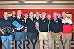 Captain's Prize winner Billy Daly, from Park View Apartments Tralee, receives his winning prize from Gerry Redican, captain of the Meadowlands Hotel Tralee golf society last Saturday night at the hotel, present were l-r: Owen O'Donnell, Gerry Fleming, Brendan Griffin, Eddie Enright, Gerry Redican, Maurice Laide, Billy Daly, Michael Forrest, Paddy Tobin, Bob Gunning and Tim Scannell, the game took place at Killorglin Golf club.