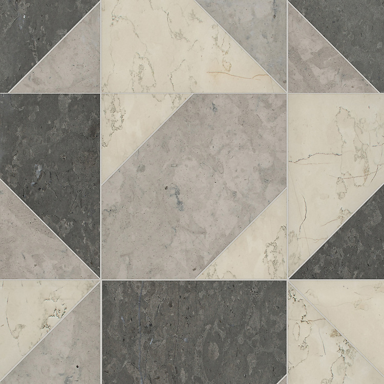 Axel Grand, a hand-cut stone mosaic,shown in honed Bianco Antico, Cavern, and Palomar, is part of the Semplice® collection for New Ravenna.
