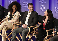 "HOLLYWOOD, CA - MARCH 17:  Angela Bassett, Peter Krause and Jennifer Love Hewitt at PaleyFest 2019 - Fox's ""9-1-1"" panel at the Dolby Theatre on March 17, 2019 in Hollywood, California. (Photo by Scott Kirkland/Fox/PictureGroup)"