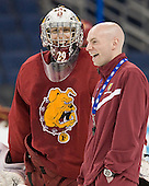 Taylor Nelson (FSU - 29), Dave Cencer (FSU - Strength/Cond/Video Coach) - The Ferris State University Bulldogs practiced on Wednesday, April 4, 2012, during the 2012 Frozen Four at the Tampa Bay Times Forum in Tampa, Florida.