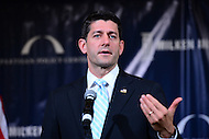 Cleveland, OH - July 20, 2016: House Speaker Paul Ryan speaks to attendees of a forum hosted by the Bipartisan Policy Center and the Milken Institute during the Republican National Convention in Cleveland, Ohio, July 20, 2016.  (Photo by Don Baxter/Media Images International)