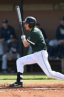 Second baseman Kyle Gensler (16) of the University of South Carolina Upstate Spartans bats in a game against the Pittsburgh Panthers on Saturday, February 24, 2018, at Cleveland S. Harley Park in Spartanburg, South Carolina. Pittsburgh won, 3-1. (Tom Priddy/Four Seam Images)