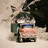 Truck carrying miners from the Potosi Mine, Potosi, Eastern Cordillera, Bolivia