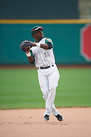 Fort Wayne TinCaps shortstop Ruddy Giron (16) warmup throw to first during the second game of a doubleheader against the Great Lakes Loons on May 11, 2016 at Parkview Field in Fort Wayne, Indiana.  Great Lakes defeated Fort Wayne 5-0.  (Mike Janes/Four Seam Images)