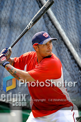 12 July 2008: Washington Nationals' second baseman Felipe Lopez takes daytime batting practice prior to an evening game against the Houston Astros at Nationals Park in Washington, DC. The Astros defeated the Nationals 6-4 in the second game of their 3-game series...Mandatory Photo Credit: Ed Wolfstein Photo