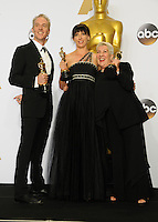 28 February 2016 - Hollywood, California - Damian Martin (2nd from L), Elka Wardega (C) and Lesley Vanderwalt (2nd from R), winners of the Best Makeup and Hairstyling award for 'Mad Max: Fury Road,'. 88th Annual Academy Awards presented by the Academy of Motion Picture Arts and Sciences held at Hollywood & Highland Center. Photo Credit: Byron Purvis/AdMedia
