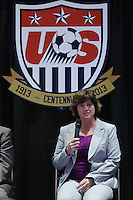 INDIANAPOLIS, IN - January 18, 2013: 1991 World Cup captain and 2003 World Cup coach April Heinrichs. U.S. Soccer hosted a World Cup Coaches and Captains panel at the Indiana Convention Center in Indianapolis, Indiana during the NSCAA Annual Convention.