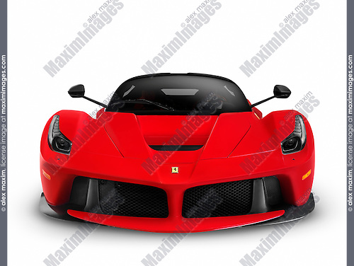 Red 2013 Ferrari F150 LaFerrari supercar sports car front view. Isolated on white background with clipping path.
