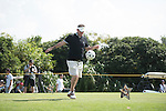 Lee Sharpe kicks a football at the 14th hole during the World Celebrity Pro-Am 2016 Mission Hills China Golf Tournament on 22 October 2016, in Haikou, China. Photo by Weixiang Lim / Power Sport Images
