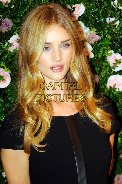 Rosie Huntington-Whiteley.launches her first ever lingerie collection for high street retailer M&S , inspired by the 1920s and her own work as an underwear model. Marks and Spencer, London, England..August 30th, 2012.headshot portrait black brown stripe  .CAP/CJ.©Chris Joseph/Capital Pictures.