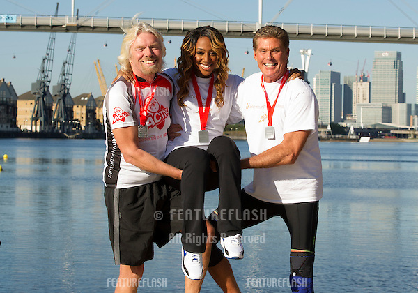 Sir Richard Branson, Alex Burke and David Hasselhoff at the The Virgin Triathlon 2012, Excel Arena,  Docklands, London. 22/09/2012 Picture by: Simon Burchell / Featureflash.