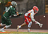 Brendon Luu #16 of Chaminade, right, gains possession after facing off against Anthony Altimari #33 of Yorktown in a non-league varsity boys lacrosse game at Chaminade High School on Saturday, Apr. 23, 2016. Chaminade won by a score of 8-4.
