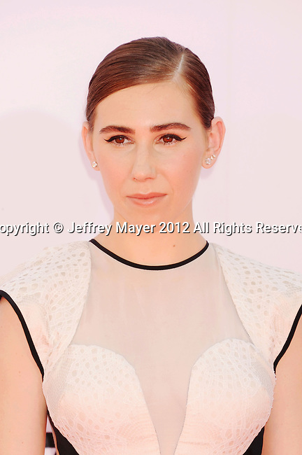 LOS ANGELES, CA - SEPTEMBER 23: Zosia Mamet . arrives at the 64th Primetime Emmy Awards at Nokia Theatre L.A. Live on September 23, 2012 in Los Angeles, California.