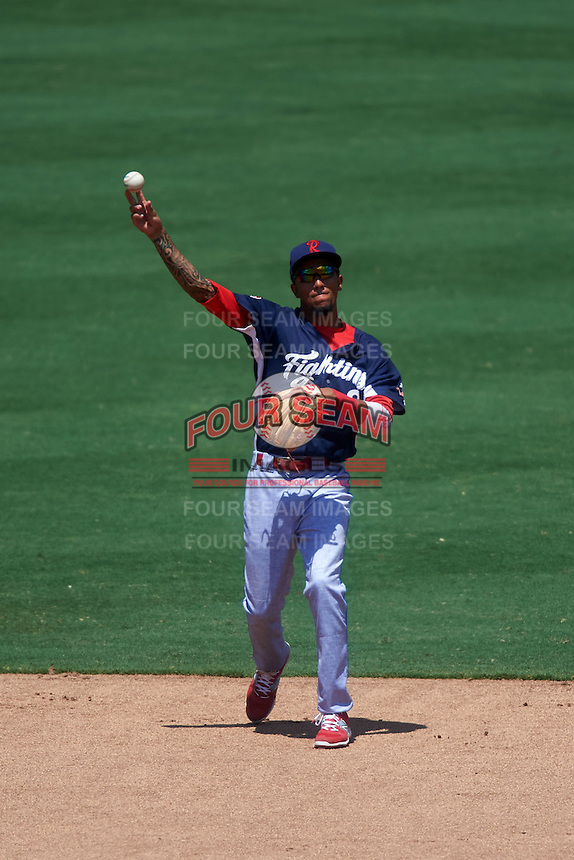 Reading Fightin Phils shortstop J.P. Crawford (2) warmup throw to first during a game against the Bowie Baysox on July 22, 2015 at Prince George's Stadium in Bowie, Maryland.  Bowie defeated Reading 6-4.  (Mike Janes/Four Seam Images)